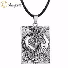 CHENGXUN Men Necklace Hip Hop Style Rectangle Solid Pendant Charm Norse Ravens Viking Slavic Talisman Pagan Jewelry(China)