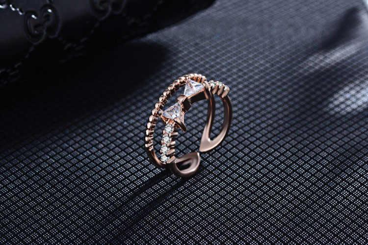 2017 ใหม่มาถึงคุณภาพสูง shiny zircon bowknot หญิง 925 เงินสเตอร์ลิง ladies'finger แหวนเครื่องประดับของขวัญขายส่ง