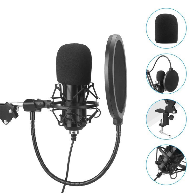 Professional Podcast Condenser USB Microphone Kit Tripod for PC Karaoke Vocals Voice Over Youtube Studio Recording Mikrof image