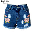 Plus Size Embroidery ripped jeans Shorts 4XL 5XL female Dark blue denim Short 2016 Pockets straight High waist jeans women botto