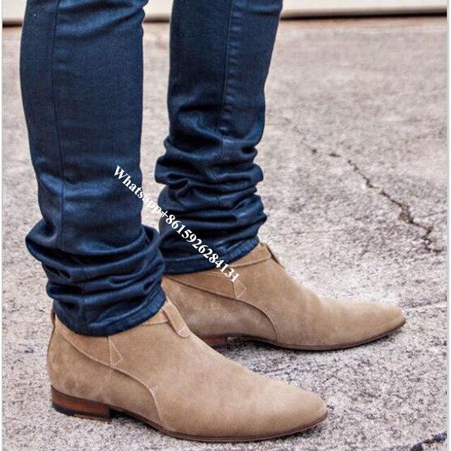 Luxury Brown Jodhpur Men Dress Shoes Pointed Toe London Buckle Male