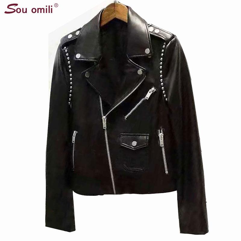 2019 New Rivet Stud Leather Jacket Women Black Jacket Moto Coat jaquetas couro Casaco chaquetas Jacket
