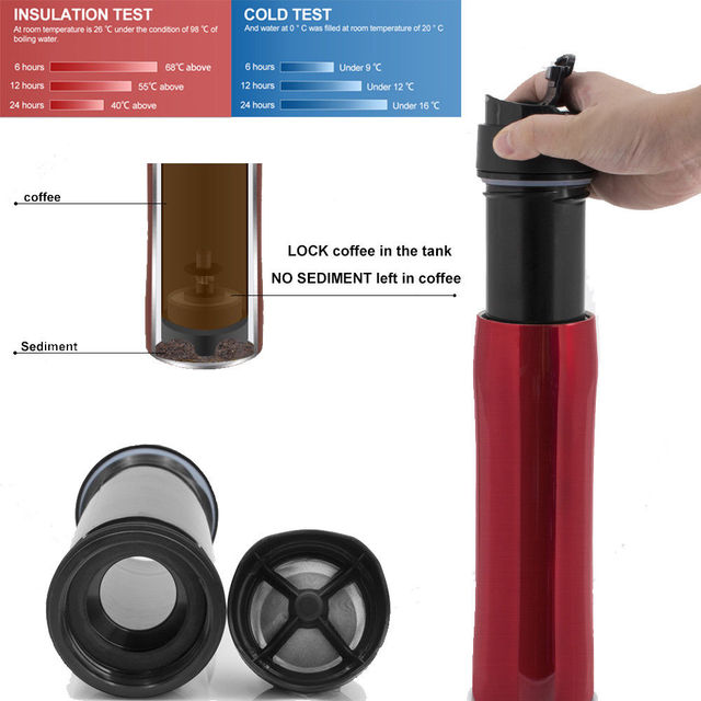 Coffee Pot 350ml Stainless Steel 2 Gen Outdoor Hiking Vacuum Plunger Portable French Press