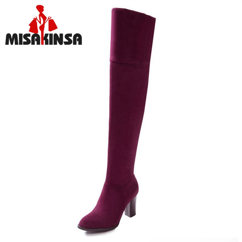 Women Suede Leather Square Heels Over the Knee Boots Sexy Fashion Hing Heels Long Boots Shoes Woman Botas Size 32-43