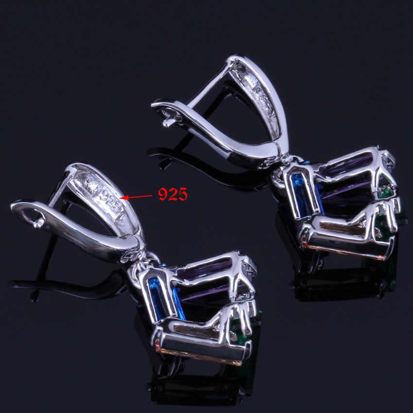 รูปสี่เหลี่ยมผืนผ้า Multigem Multicolor Cubic Zirconia 925 เงินสเตอร์ลิงชุดเครื่องประดับสำหรับต่างหูแหวนจี้แหวน V0975