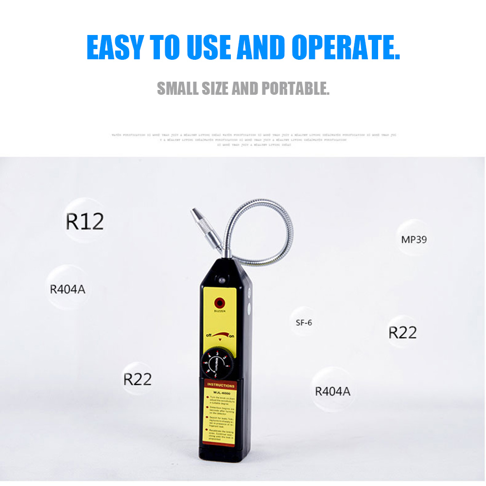 Refrigerant Halogen Leak Detector for Home Portable HFC CFC Air Gas HVAC Gas Leakage Detect Tester Checker Tool Black