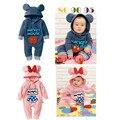 Inverno de alta qualidade de algodão dos bebés macacãozinho conjuntos de roupas meninos roupas de frio macacão para bebês dos desenhos animados