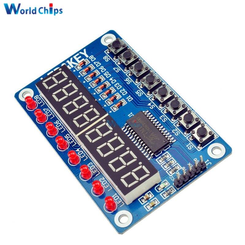 TM1638 LED Display 8-Bit Digital Tube Module For Arduino For AVR 7 Segment 8 Bits RED TM1638 KEY LED Display Board Panel(China)
