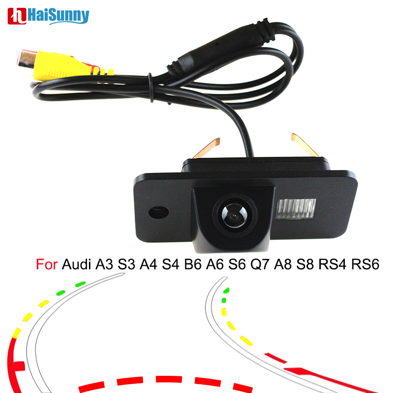 Night Vision Car Rear View Reverse Back Up Parking CAMERA Dynamic Line For Audi A3 S3 A4 S4 B6 A6 S6 Q7 A8 S8 RS4 RS6 Wide View