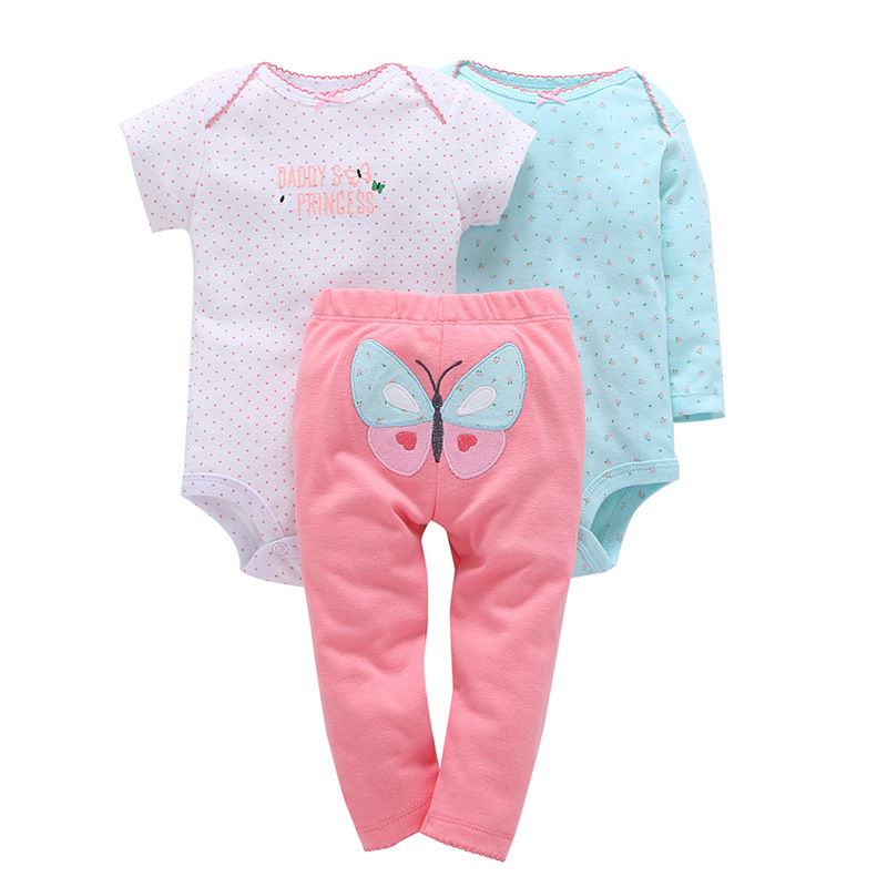 3pcs/set Cupcake Applique Baby Clothing Girl Children Bodysuit Newborn Wear Kit Suit Infant Baby Girl Clothes Kid Costume Outfit baby boy clothes kids bodysuit infant coverall newborn romper short sleeve polo shirt cotton children costume outfit suit