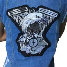 Embroidered Iron On Patches 1pcs Large Punk Wing Badge eagle Biker For jacket vest Clothing