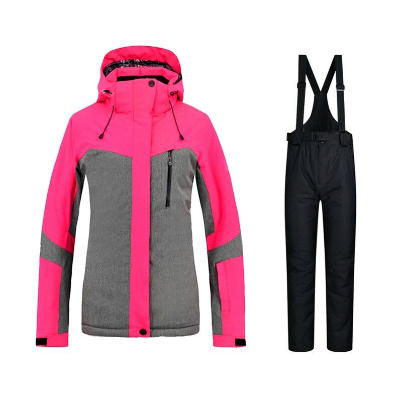 Womens Ski Wear Set Outdoor Womens Clothing Snowboard Wear Womens Ski Pants Windproof Waterproof Warm Snow Jacket -30 DegreesWomens Ski Wear Set Outdoor Womens Clothing Snowboard Wear Womens Ski Pants Windproof Waterproof Warm Snow Jacket -30 Degrees
