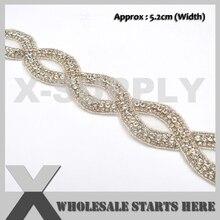 Trim for Bridal Wedding-Sash Rhinestone Applique Crystal Yard Silver The Big by Luxury