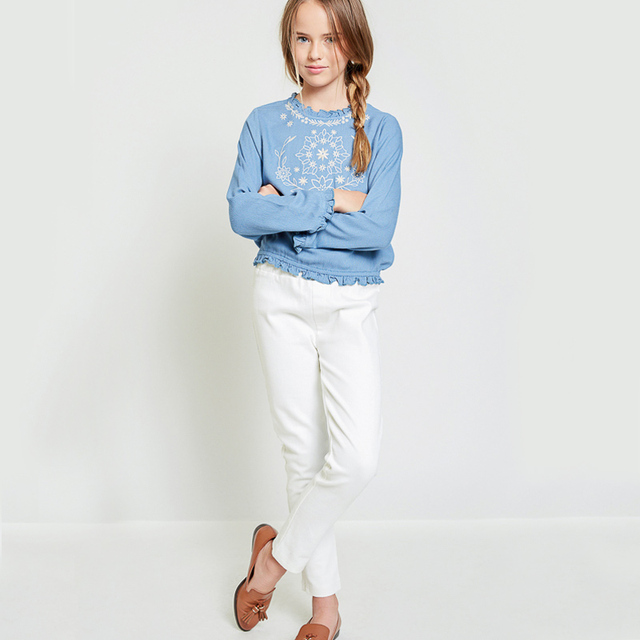 Girls Jeans White Normal Waist Autumn 2017 Spring Pure color Elastic Long Skinny Slim Jeans Black Trousers For Children