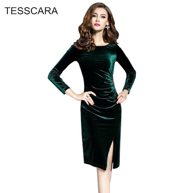 size 40 f6213 dcbc5 US $22.4 20% di SCONTO Donna autunno inverno ufficio dress femminile  elegante velluto abiti retrò veste femme vestidos abbigliamento da lavoro  ...