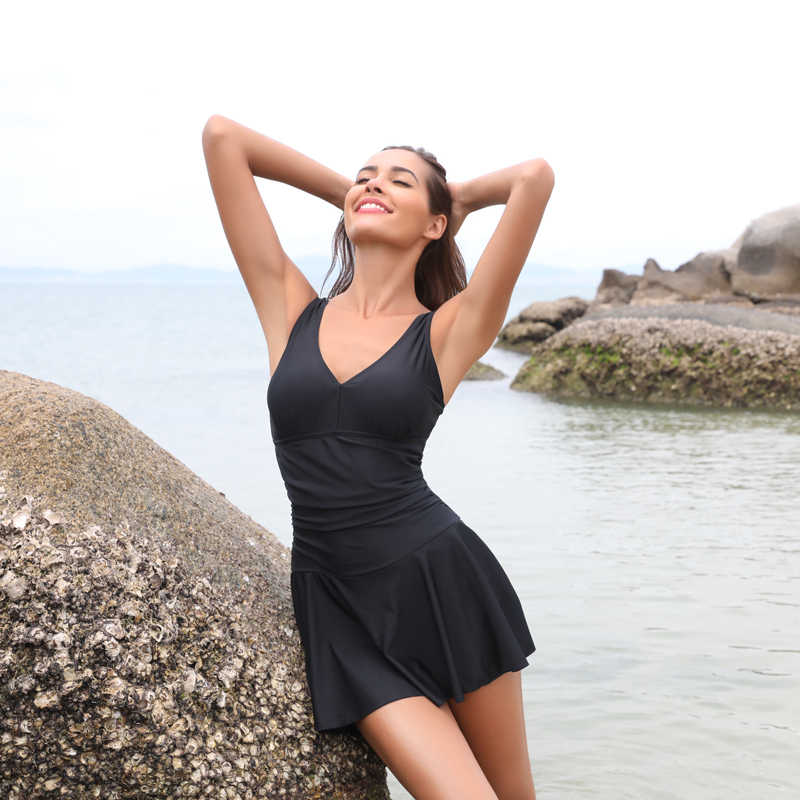 0d28f1bfc0a SHEKINI Women's one piece swimsuit Skirt Swimsuit Ruched Retro Swimdress  Bathing Suit