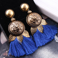 2017 New Baroque Long Slik Tassel earrings for women Fashion Vintage Gold Plated Jewelry