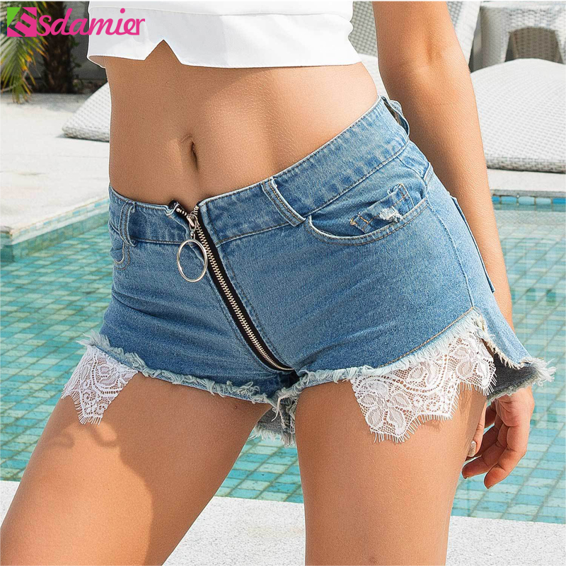 ESDAMIER Fashion Women Sexy Jeans Shorts Front Back Zipper High Waist Hole Shorts Women Night Club Shorts Lace Patch Light Blue