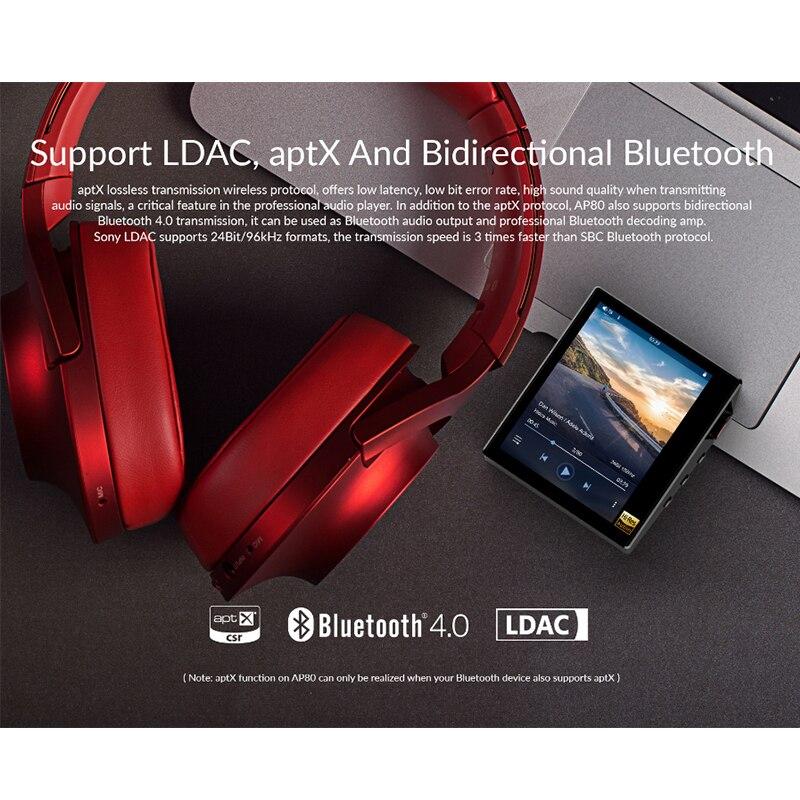 Hidizs AP80 hi-res ES9218P Bluetooth HIFI musique lecteur MP3 LDAC USB DAC DSD 64/128 FM Radio HibyLink FALC DAP hi-res apt-x - 4