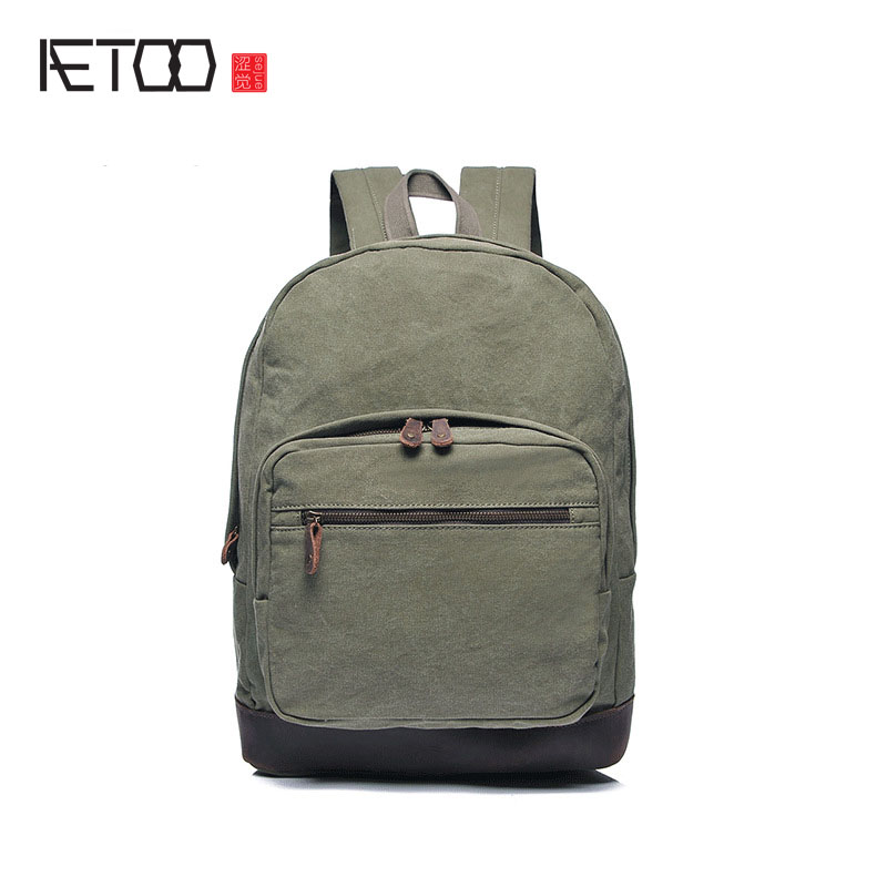AETOO new men's bag shoulder bag canvas men's backpack retro bag with the first layer of leather large-capacity travel bag