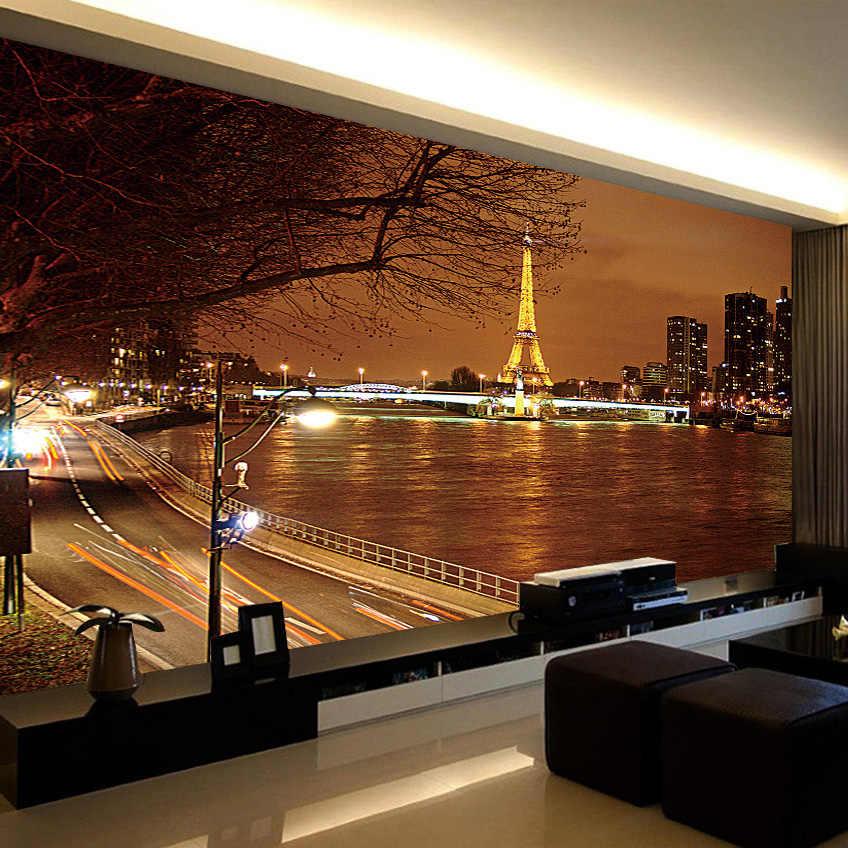 Kustom 3D Foto Wallpaper Dinding Eropa Bangunan Kota Malam Pemandangan Latar Belakang Sofa Kamar Tidur Mural Wallpaper untuk Ruang Tamu