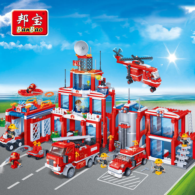 BanBao Police Educational Building Blocks Toys For Children City Hero Weapon Car Helicopter Boat Compatible with Legoe decool 3355 technic city series rescue helicopter building block 407pcs diy educational toys for children compatible legoe