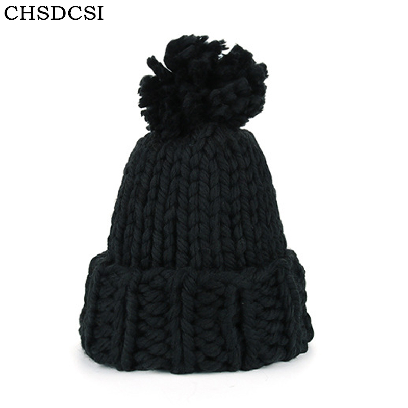 CHSDCSI Knitting Wool Ball   Skullies     Beanies   Casual Black Streetwear Warm Hat Cap Women Autumn Winter 2018 Cute   Beanie   Hat Female