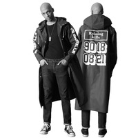 New fashion men's raincoat Personalized letter style rain cover Long impermeable outdoor cover