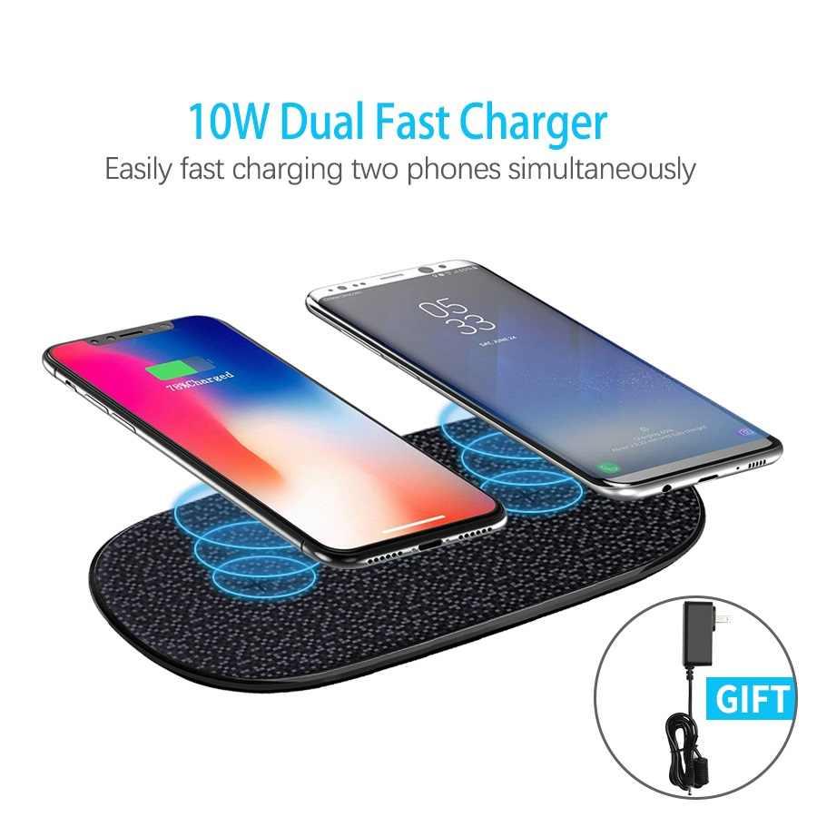 Nirkabel Cepat Charger 10 W NILLKIN untuk 2 Ponsel Qi Wireless Charging Pad untuk iPhone X/X/8 mi 9 untuk Samsung S8/S9/S10 Hadiah Adaptor