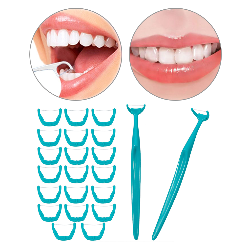 20 Pcs/Set White/Green/Pink Disposable Interdental Brush Teeth Stick Toothpicks Dental Floss Handle Oral Cleaning Flosser Tools