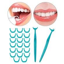 6b73ea3c0 20 pçs set branco Verde Rosa Fio Dental Interdental Escovar Os Dentes Vara