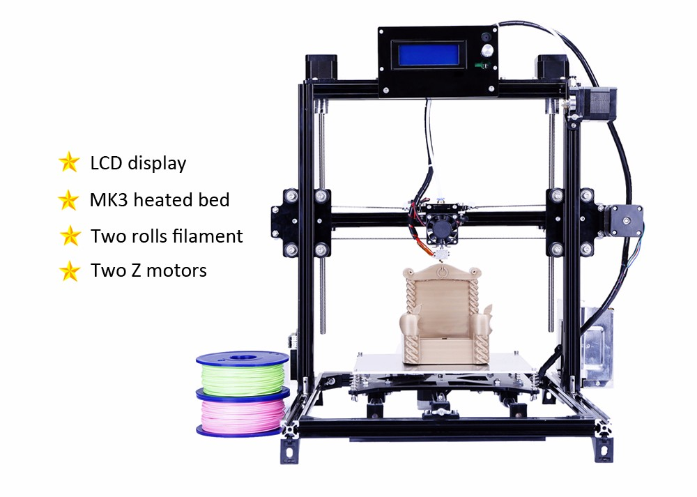 Aluminium Metal 3D Printer High Precision Large printing size Prusa i3 3d  Printer Kit Hot Bed With Two Roll Filament Sd Card-in 3D Printers from