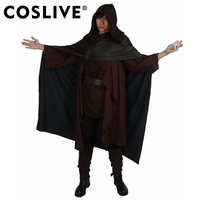 Coslive Luke Cosplay Costume Star WarsVIII The Last Jedi Luke Costume New Vision Dark Brown Outfit Fancy Dress for Show Party
