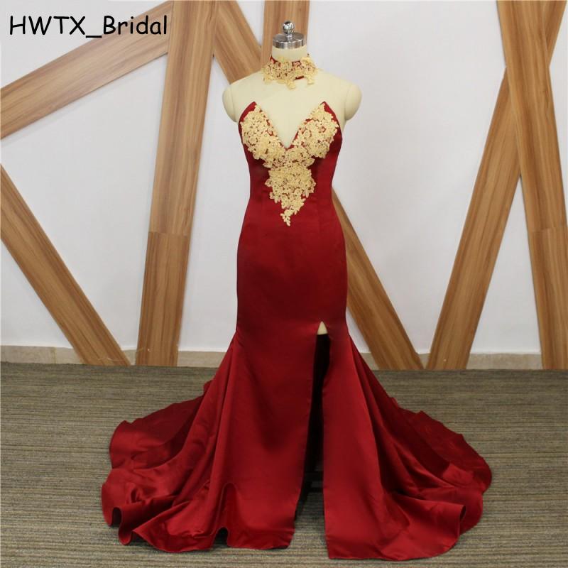 Elegant Burgundy Mermaid Bridesmaid Dresses 2018 New Gold Lace Satin