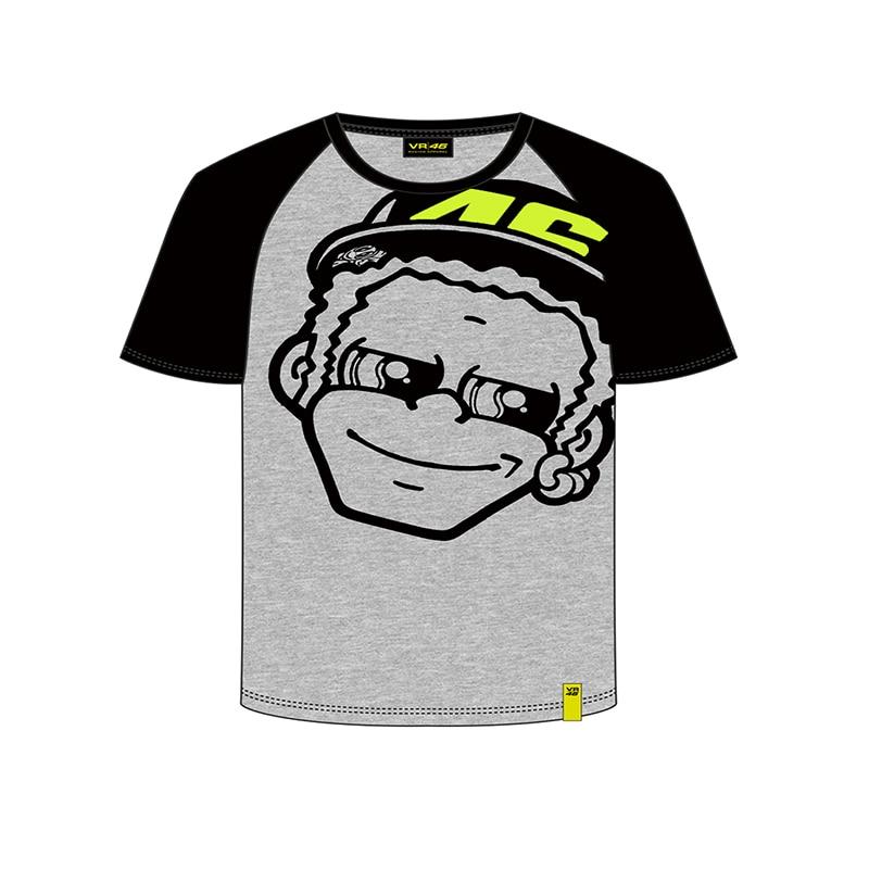 Free shipping 2018 VR46 Valentino Rossi Kids T-shirt fumetto the doctor MotoGP TShirt Grey