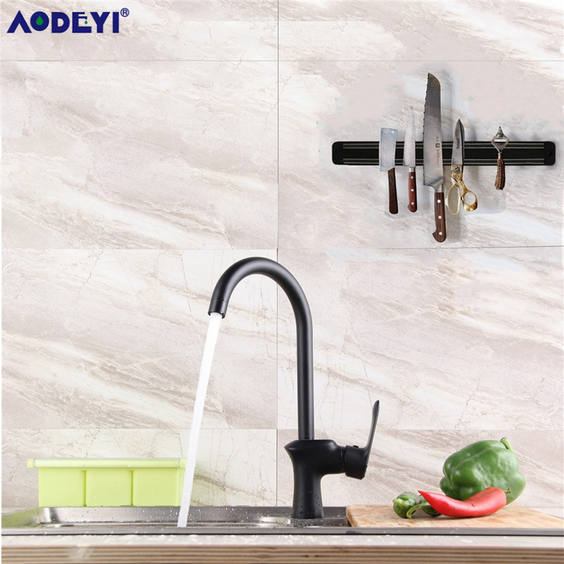 AODEYI Black Solid Brass Kitchen Faucet Sink Mixer Tap 360 Degree Hot And Cold Kitchen Water Tap Sink Rotation Aerator 2 Kinds tookoc black hot and cold water kitchen sink faucet water mixer tap 360 degree