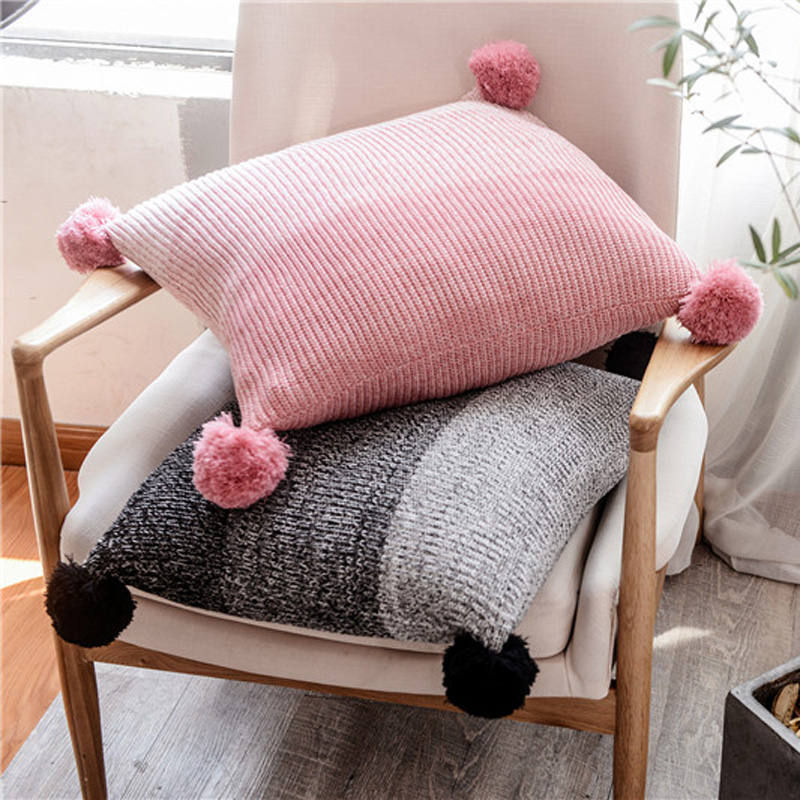 Knit Cushion Cover Grey Pink  Pillow Case 45*45cm Cute Pompom Ball Cushion Case Soft For Sofa  Bed Nursery Room Decorative