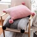 Вязаная наволочка серый розовый наволочка 45*45 см милый помпон наволочка мягкая для дивана кровати детской комнаты декоративная