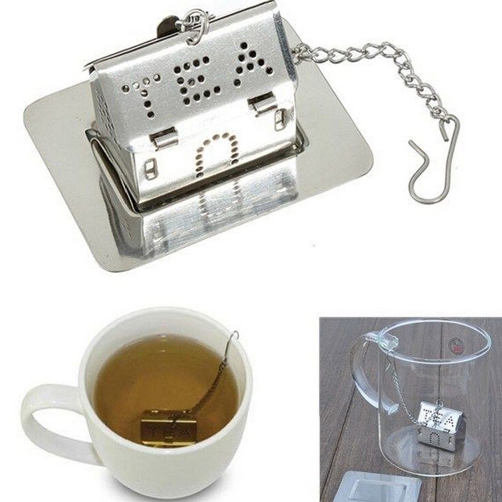 Hot Tea Strainer Stainless Steel House Shaped Tealeaf Bag Locking Mesh Infuser YH 460984 in Tea Strainers from Home Garden