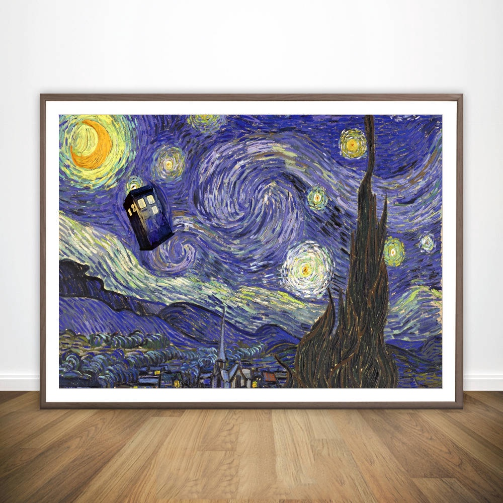 Starry night of doctor who van gogh wall art paint wall decor canvas prints canvas art poster oil paintings noframe