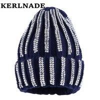Mulheres de luxo inverno marca chapéu gorros menina moda skully chapéus de inverno skullies malha de algodão que bling strass ocasional térmica