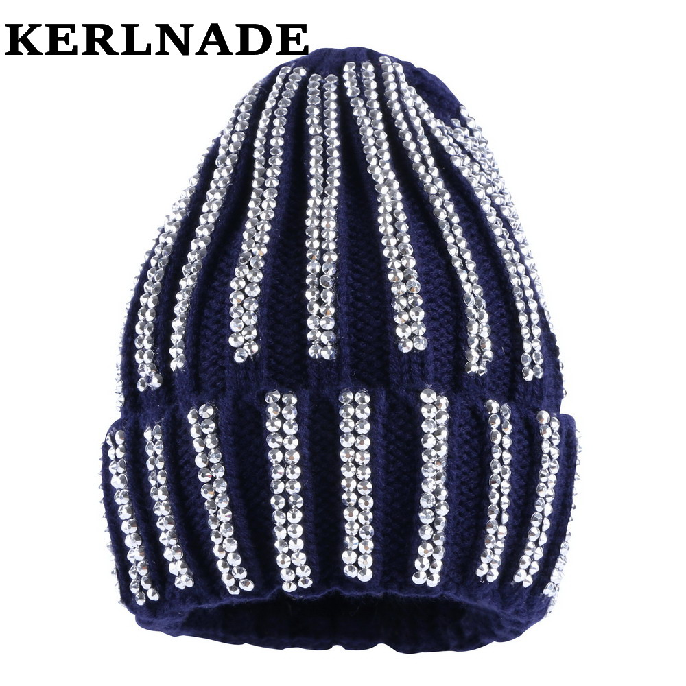 a006a607956 women luxury winter hat brand beanies girl fashion skully skullies knitted  cotton bling rhinestone casual thermal winter hats