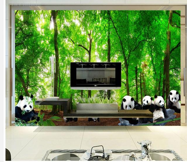 Home Decoration customized wallpaper for walls Forest Panda ...