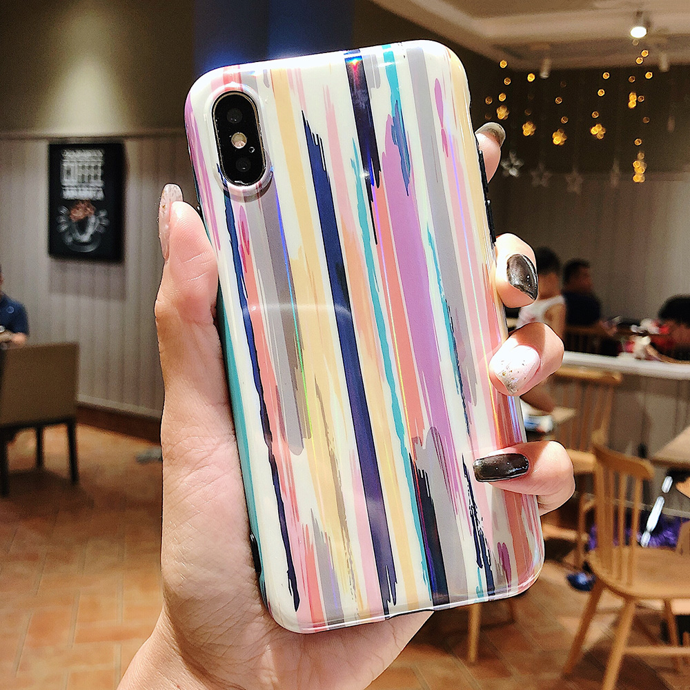 KIPX1037_2_Aurora Laser Crayon Rainbow Case for iPhone 7 8 Glossy Soft Silicone Case For iPhone X XS 6S 7P 8 Plus Phone Cover