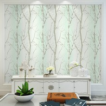 цена на Retro Forest Green Wallpaper Tree Non-woven Bedroom Living Room Sofa TV Background Decorative Wallpaper Roll