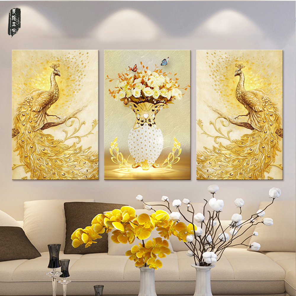 Colorful Wall Decor: Peacock Canvas Paintings Colorful Wall Art Animal Pictures