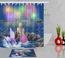LB mar azul púrpura de fuegos artificiales Cortina de ducha de tela de poliéster tela de cortina de baño conjunto con Mat y ganchos de impresión personalizada