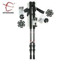 210g/pc Carbon Fiber External Quick Lock Trekking Poles Nordic Walking Stick Hiking Telescope Stick Shooting Crutch Senderismo