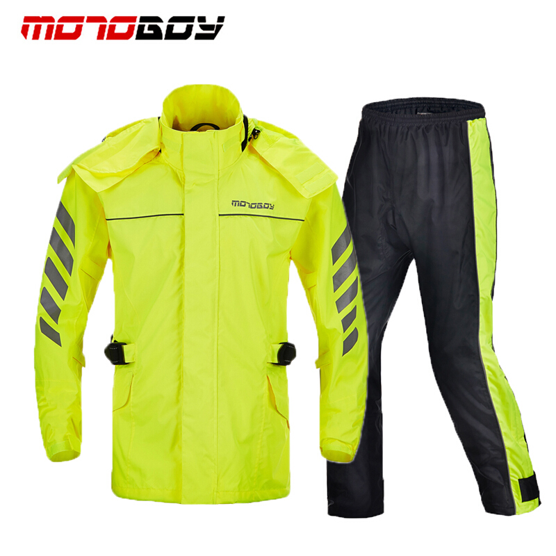 MOTOBOY 100% Nylon Professional Waterproof Cycling Jacket Pants Hood Motorcycle Gear Outdoor Sport Camping Rain-proofrain Suit 4