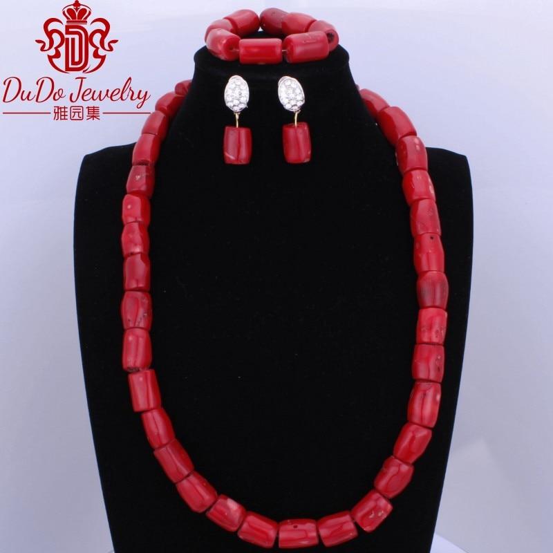 2017 perles de corail rouge Fine mode Dubai noël bijoux en argent ensemble africain nigérian mariage collier boucles d'oreilles Bracelet ensemble